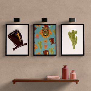 Kit Quadros Decorativos para sala e quarto Chápeu