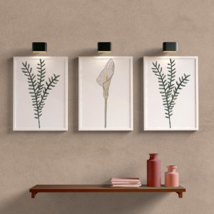 Kit Quadros Decorativos Folhas Moldura Branca
