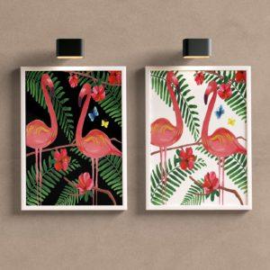 Kit Quadros Decorativos Sala Flamingo