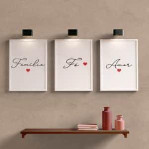 Kit Quadros Decorativos Sala Família, Fé e Amor