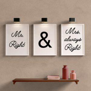 Kit Quadros Decorativos Mr. Right & Mrs. always Right