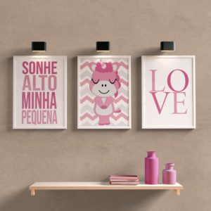 kit quadros para quarto de bebe unicornio