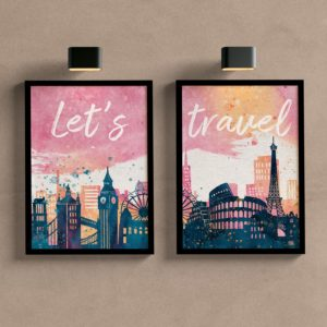 Kit Quadros Decorativos Sala Let´s Travel