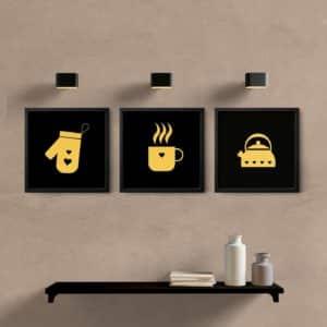 kit quadros para cozinha coffe