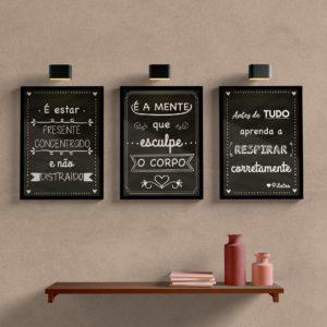 Kit Quadros Decorativos Frases de Pilates