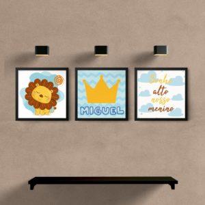 kit quadros decorativos sala quarto bebe leao
