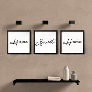 Kit quadros decorativos quarto sala home sweet home