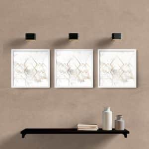 kit quadros decorativos quarto sala luxo moldura branca
