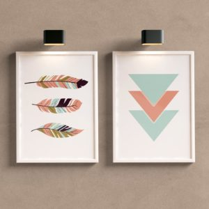 Kit Quadros Decorativos Sala Geométrico Folhas