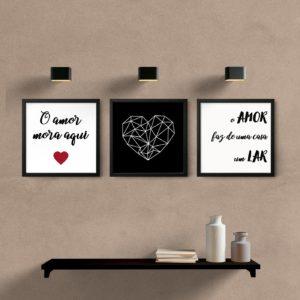 kit quadros decorativos quarto sala o amor mora aqui