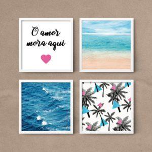 kit quadros decorativos sala quarto mar