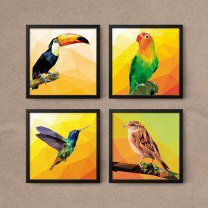 kit quadros decorativos sala aves