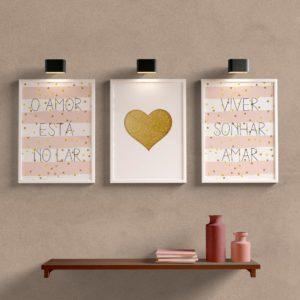 Kit Quadros Decorativos Para Sala o amor esta no lar