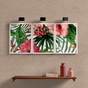 Kit Quadros Decorativos Folhas e Flores