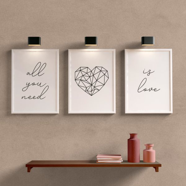 Kit quadros decorativos para sala is love
