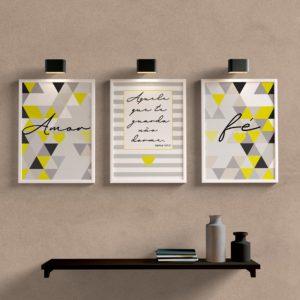 Kit Quadros Decorativos Amor e Fé Amarelo