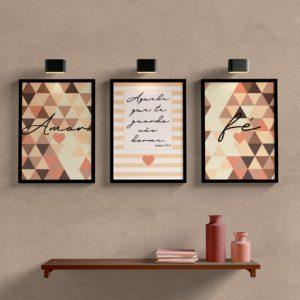 Kit de quadros decorativos para sala amor e fé marrom
