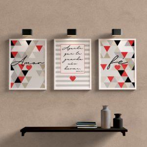 Kit Quadros Decorativos Amor e Fé Vermelho