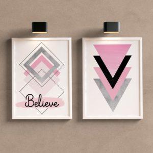 Kit Quadros Decorativos Rosa e Cinza Believe