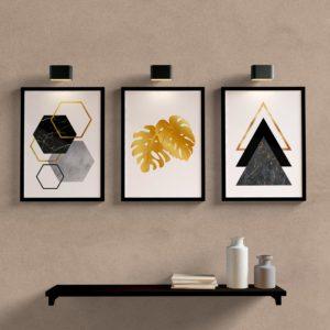 Kit Quadros Decorativos Sala Quarto Geometrico Dourado