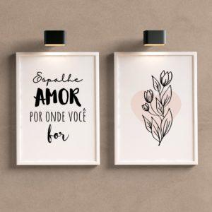 Kit Quadros Decorativos Espalhe Amor