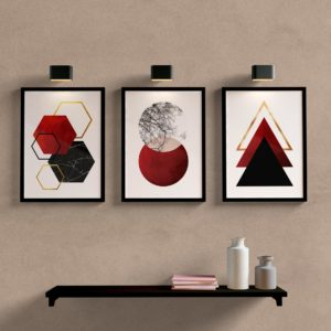 Kit Quadros Decorativos Sala Quarto Geometrico Vermelho
