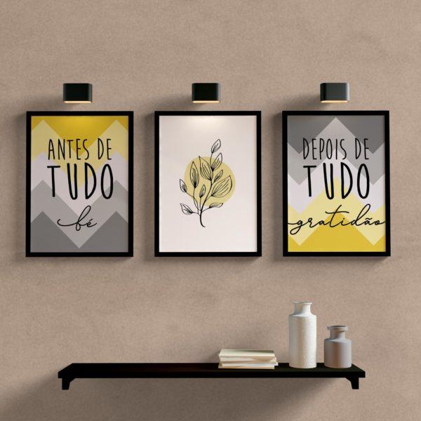 Kit Quadros Decorativos sala quarto antes de tudo fe