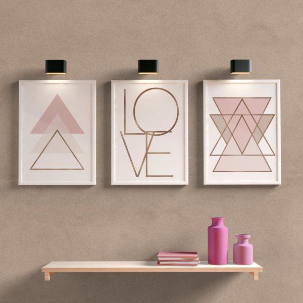 kit quadros decorativos para sala/quarto love rose