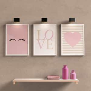 kit quadros decorativos para sala quarto love