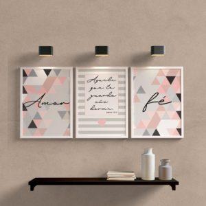 Kit de quadros para sala amor e fé