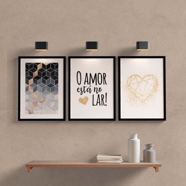Kit Quadros Decorativos O amor para sala ou quarto