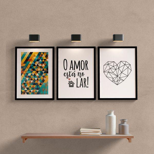 Kit Quadros o amor esta no lar para sala ou quarto