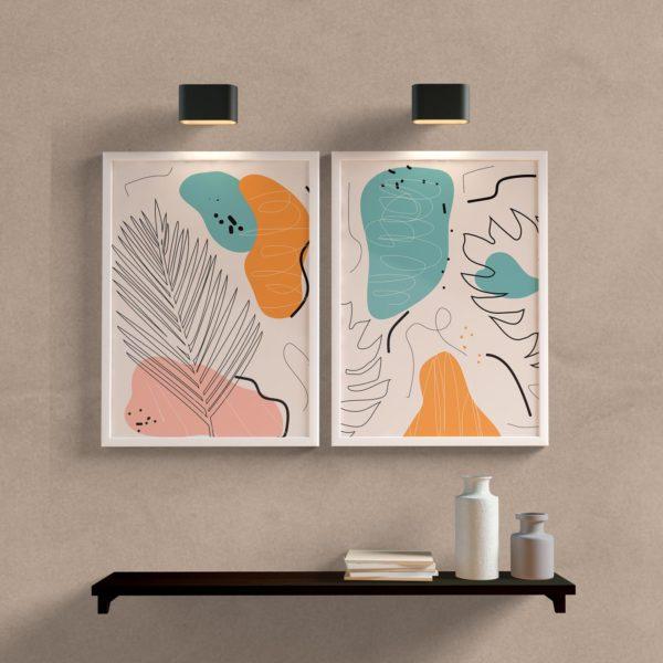 kit quadros abstratos para sala ou quarto