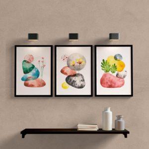 Kit quadros abstrato para sala