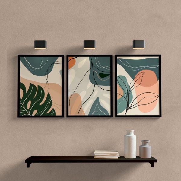 Kit Quadros decorativos abstratos para sala