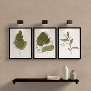 Kit quadros folhas para sala
