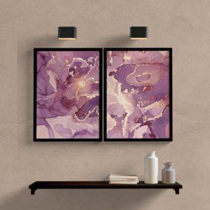 Kit-quadros-decorativos-geoemtricos-roxo