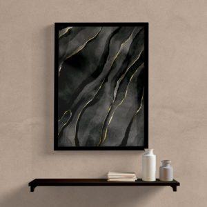 Quadro decorativo abstrato preto e dourado