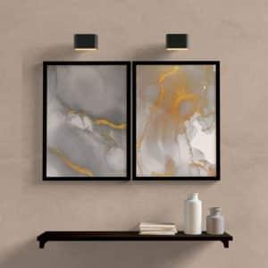 Kit Quadros-decorativos-abstrato-gray