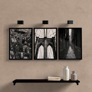 Kit quadros decorativos cidades preto e branco