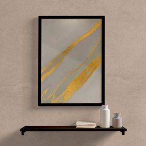 Quadro decorativo abstrato cinza e dourado