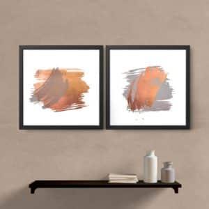 Kit quadros decorativos abstrato cobre e cinza