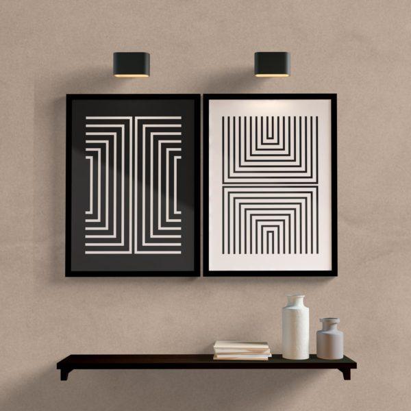 Kit Quadros Decorativos Linhas P&B