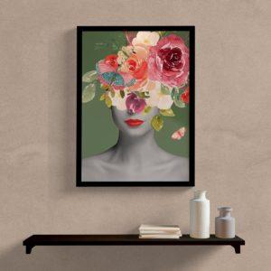 Quadro Decorativo Mulher com flores