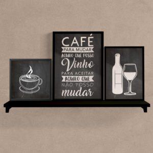 KIT QUADROS CAFÉ E VINHO