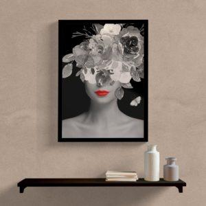 Quadro Colagem Mulher com flores