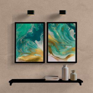 Kit Quadros Abstrato Verde